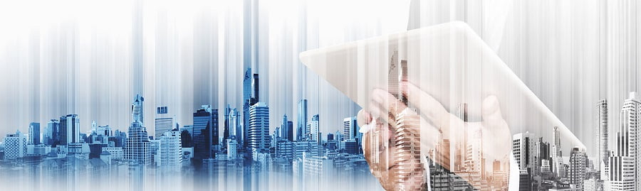 Businessman working on digital tablet, with double exposure city background, business development concept, on white background